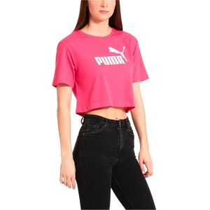 Puma Ladies' Cropped Logo Pink Tee